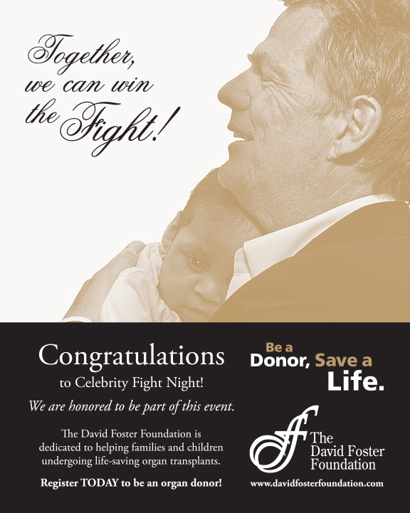David Foster Foundation Fight Night Program Ad Design - Advertisement Design in Victoria BC